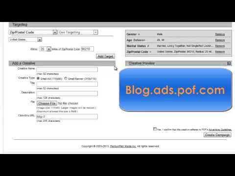 How To Create An Advertising Campaign On POF. New Video! Http://www.youtube.com/watch?v=_miCLn78fJw