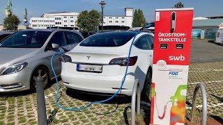 4K | Parken und Laden - Park and Charge Movie Trip - Tesla Model 3 Standard Plus