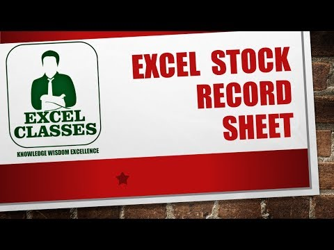 excel 2013 stock record sheet
