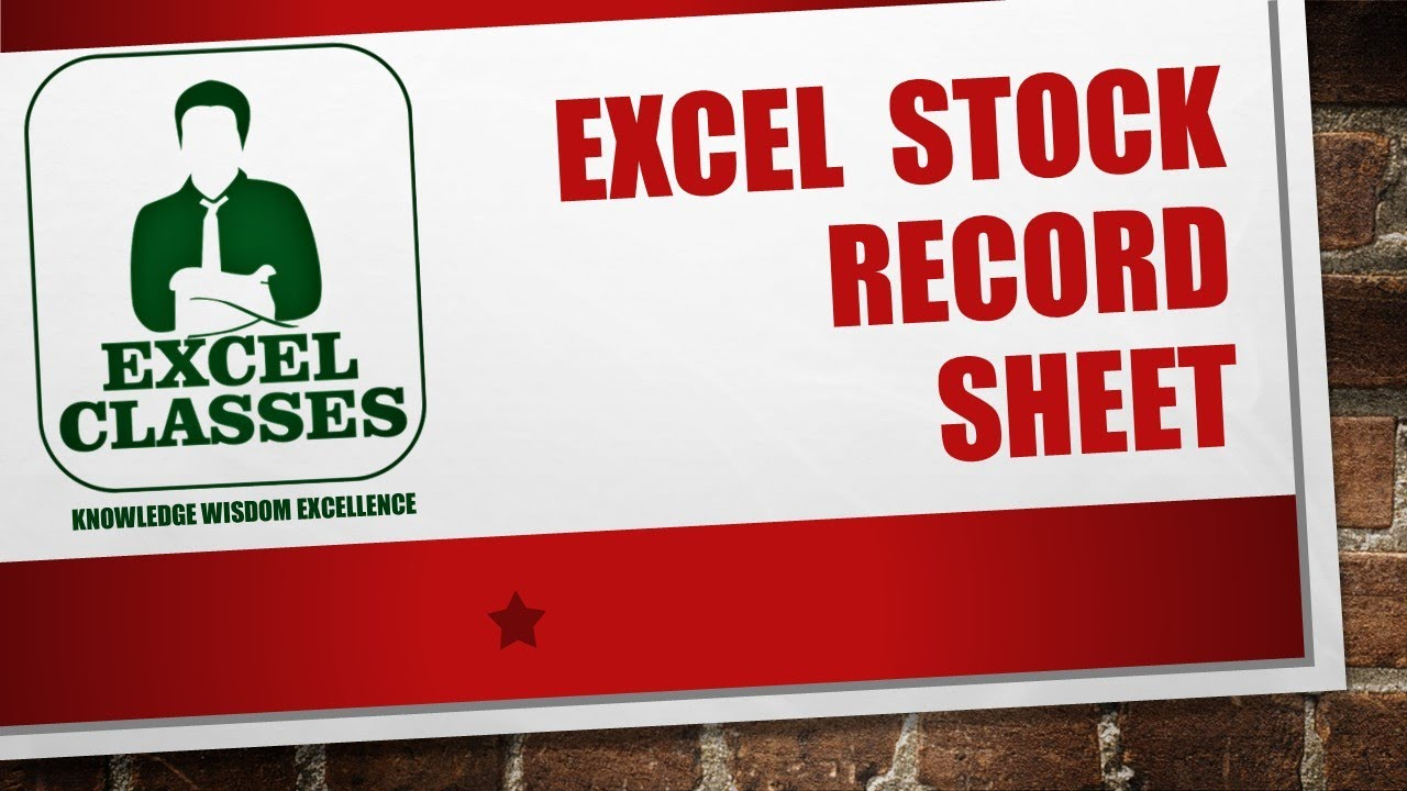 excel 2013 stock record sheet youtube
