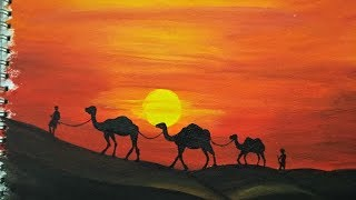 Desert Painting with Camels | Easy Landscape Painting for Beginners | Acrylic Painting Tutorial
