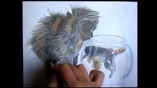 Рисуем акварелью кота. Увлеченный рыбкой Котик
