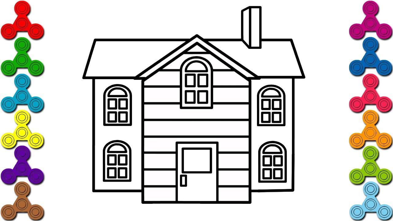 Cách vẽ Ngôi Nhà   Bé tô màu ngôi nhà mơ ước   How to draw a House Easy
