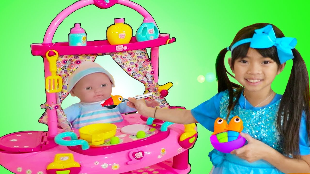 Download Emma Pretend Play w/ Little Cry Baby Doll Nursery Play House Playset