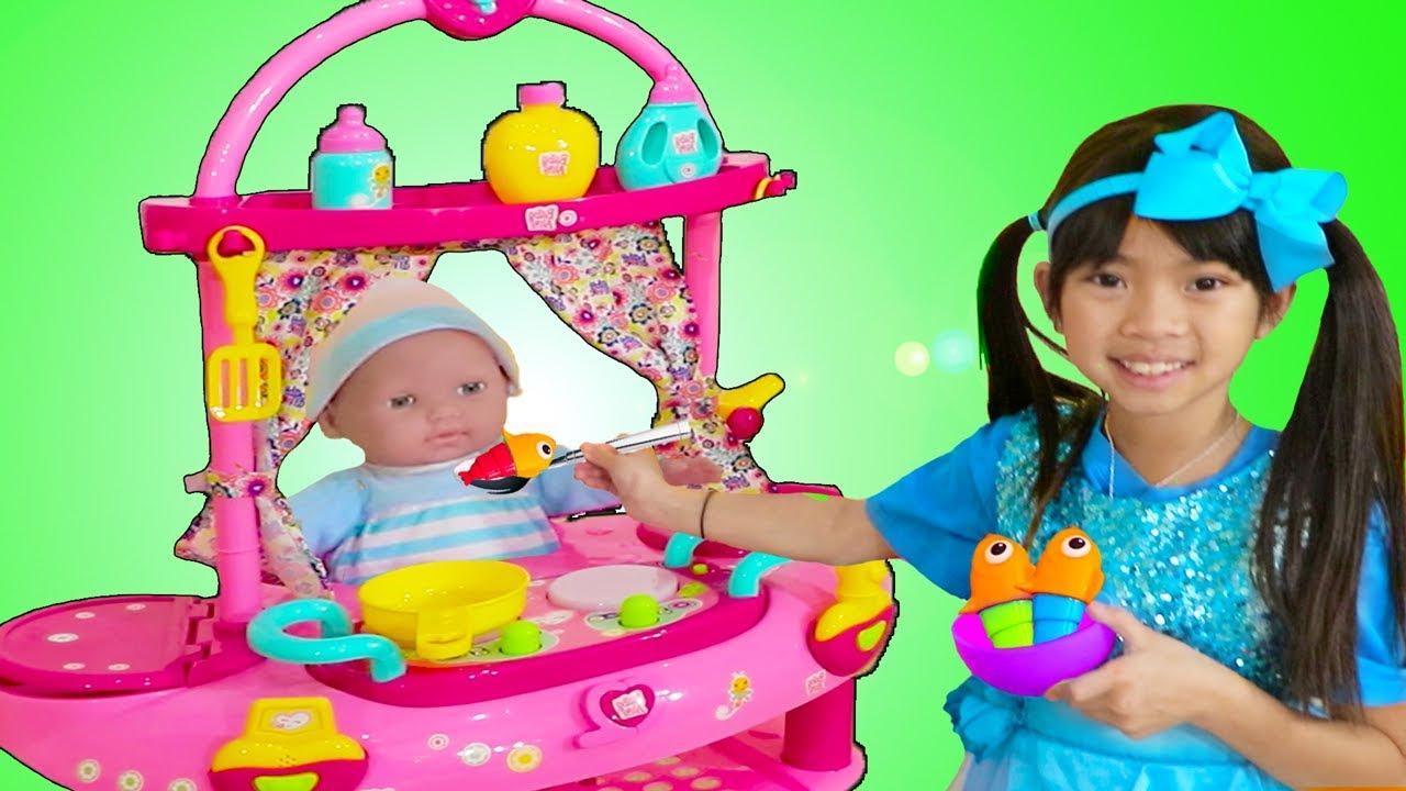 Emma Pretend Play w Little Cry Baby Doll Nursery Play House Playset