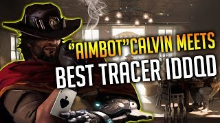 OVERWATCH BEST MCCREE IN THE WORLD CALVIN MEETS RANK 1 TRACER IDDQD