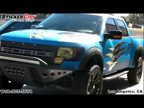 Matte Blue Ford Raptor Truck Wrap by Sticker City.mp4