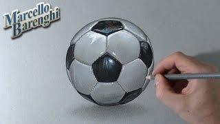 Drawing Time Lapse: a football soccer ball - hyperrealistic art