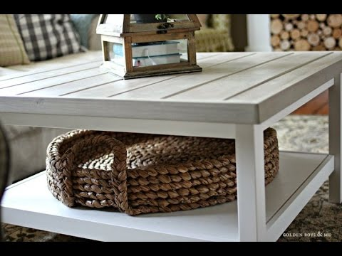IKEA hack gold spray painted coffee table - YouTube