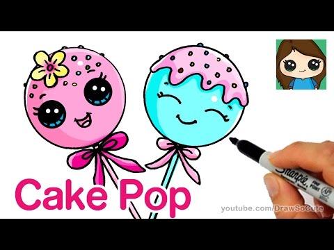 How To Draw Cake Pop Easy Cute Cartoon Food Poznavatelnye I