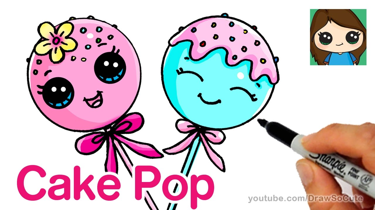 How To Draw Cake Pop Easy Cute Cartoon Food Youtube