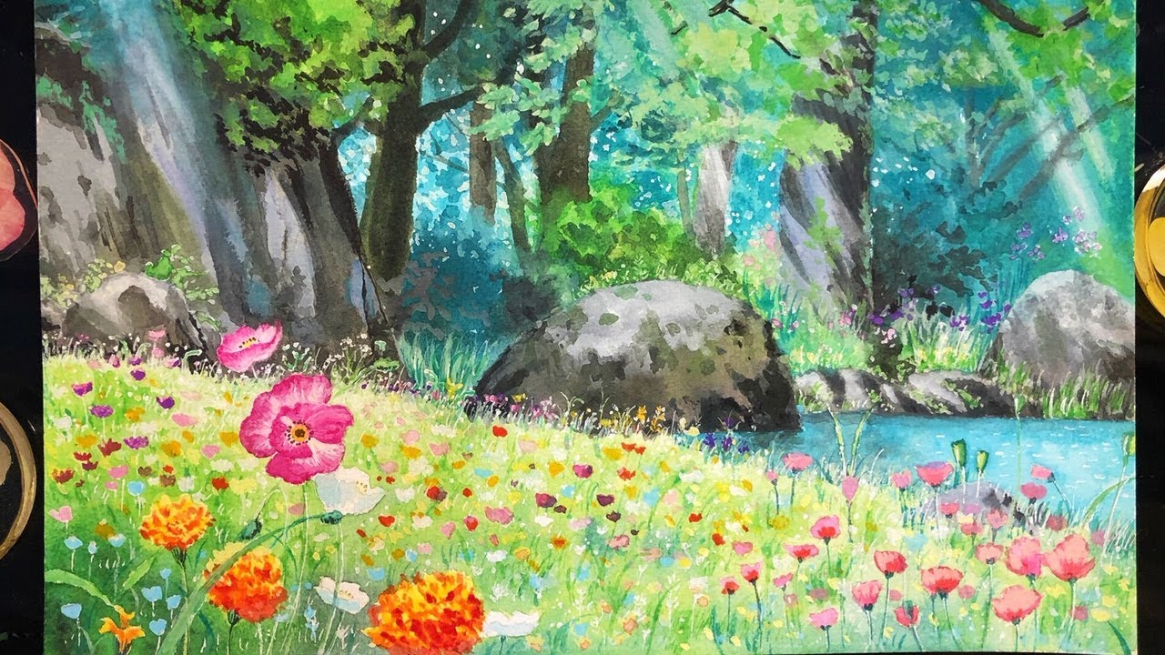 Gouache Painting Ghibli Background The Secret World Of Arrietty Youtube
