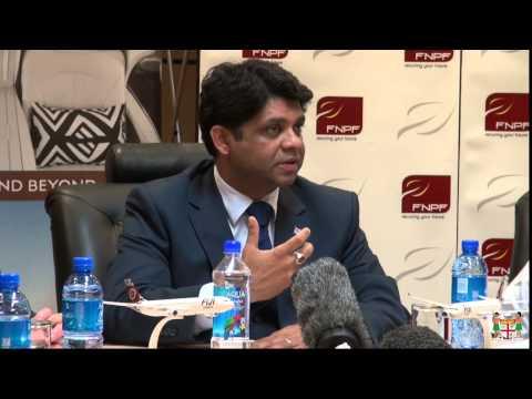 Fijian  Attorney-General, attending a Press Conference by FNPF & Fiji Airways