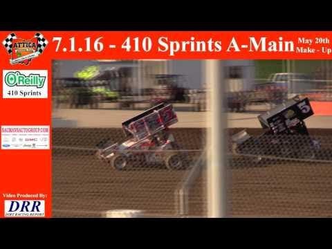 7.1.16 Attica Raceway Park 410 Sprints Make Up Feature