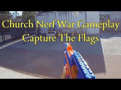 Indoor/Outdoor Church Nerf War - Capture The Flags (Rapidstrike CS-18 Gameplay) (Games 3 & 4)