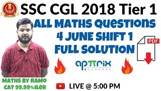 SSC CGL Tier 1 All Maths Questions | 4th June - Shift 1 by RaMo, CAT 99.99%iler