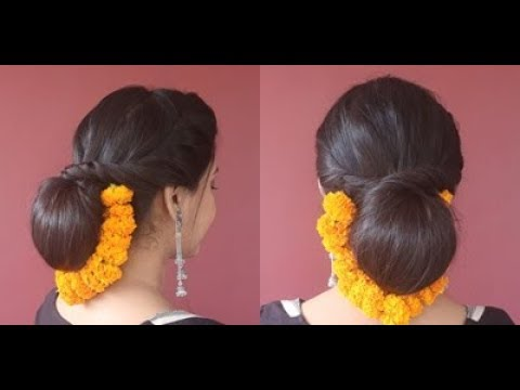 festive-hairstyle|judabun-with-flower(marigold-garland)|-asmita