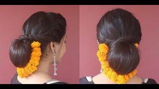 Festive Hairstyle|Juda\Bun With Flower(Marigold Garland)| Asmita