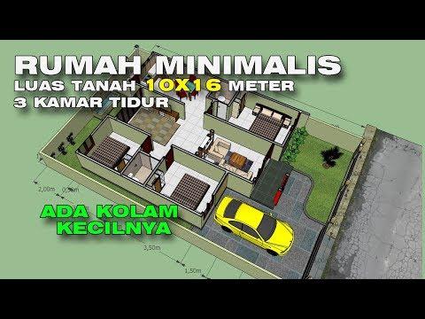 Denah Rumah Minimalis 3 Kamar Tidur Tanpa Garasi desain rumah luas tanah 10x16 3 kamar tidur youtube