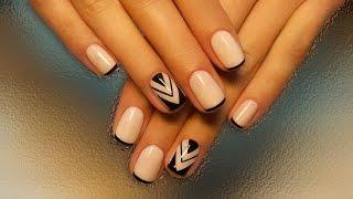 Дизайн ногтей гель-лак shellac - Роспись ногтей + френч (видео уроки дизайна ногтей)