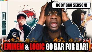Eminem & Logic Go Bar For Bar! | Logic ft. Eminem - Homicide (REACTION!)