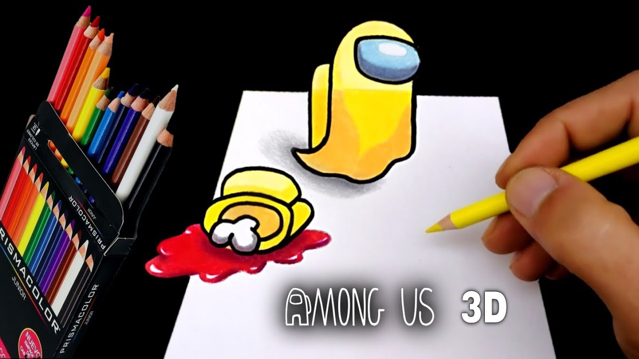 Download COMO DIBUJAR AMONG US EN 3D | FANTASMA CON SU CADÁVER | how to draw 3d among us phantom