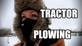 Farm Girl Plowing Snow in single Digits with Open Cab Tractor