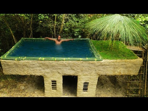 Building Most Beautiful Bamboo Swimming Pool On The Villa House By Ancient Skill