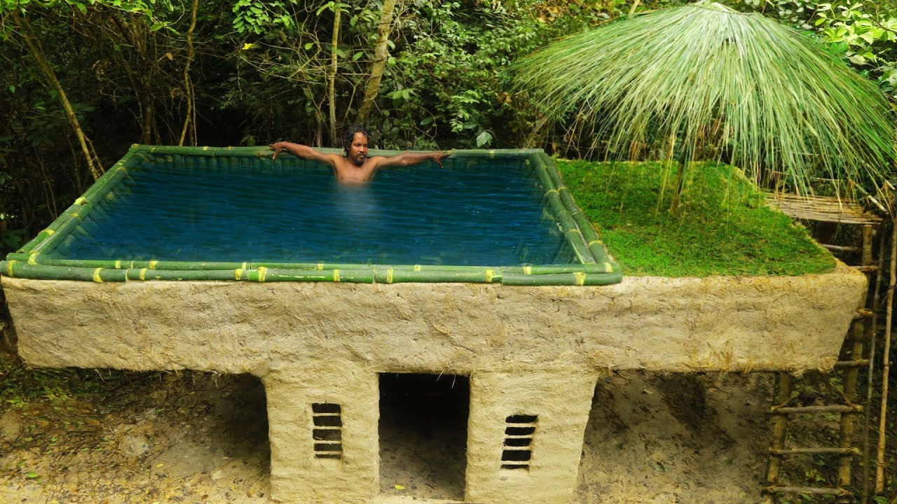 building most beautiful bamboo swimming pool on the villa house by ancient skill youtube. Black Bedroom Furniture Sets. Home Design Ideas