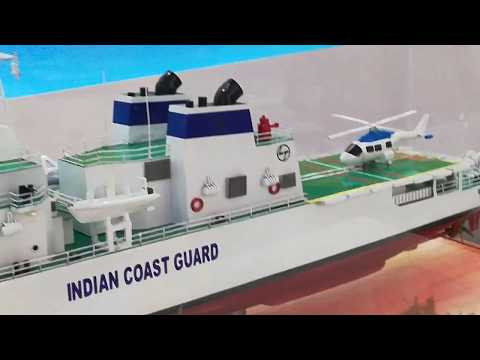 Offshore Patrol Vessel of Indian Coast Guard on Display at Defexpo 2018