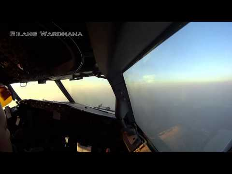 (ATC+TEXT) Sunset Cockpit View GIA156 Jakarta-Batam (Single Cam)