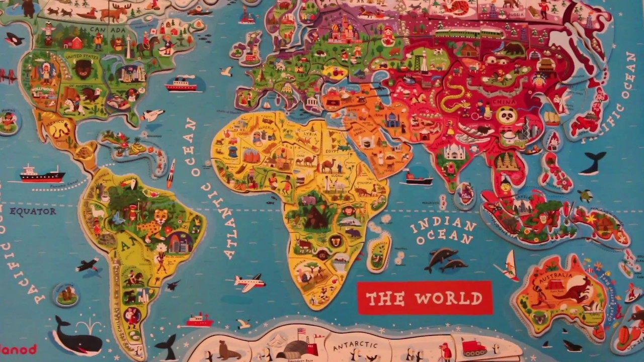Kids Magnetic World Puzzle Map - YouTube