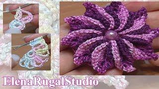 Crochet 3D Flower Patterns Tutorial 47 Вязание цветка