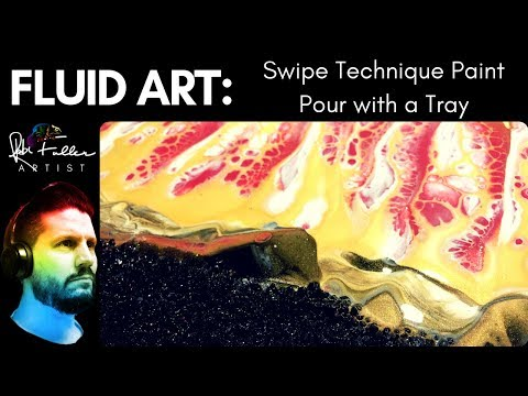 Swipe Technique Fluid Acrylic Paint Pouring with stones