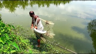 Net Fishing | Catching Lot Of Fish By Cast Net | Net Fishing in the village (Part-16)
