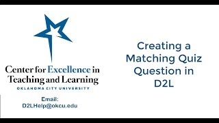 Create a Matching Question in D2L