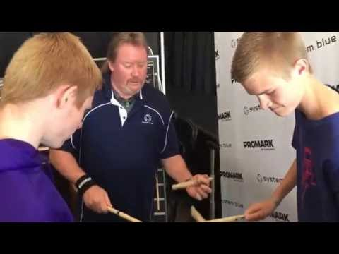 Matthew Hinkle drumming with Scott Johnson of the Blue Devils at WGI Championships 2015 (4/11/15)