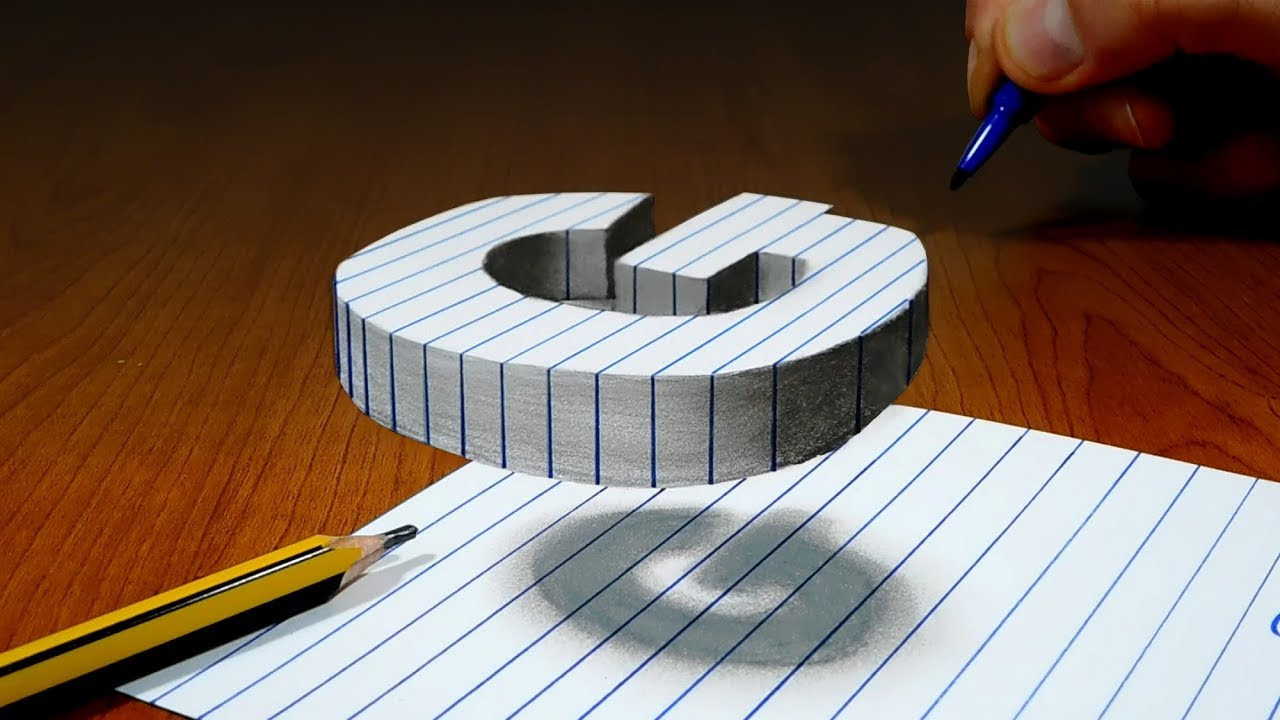 It is a picture of Irresistible 3d Letter G Drawing