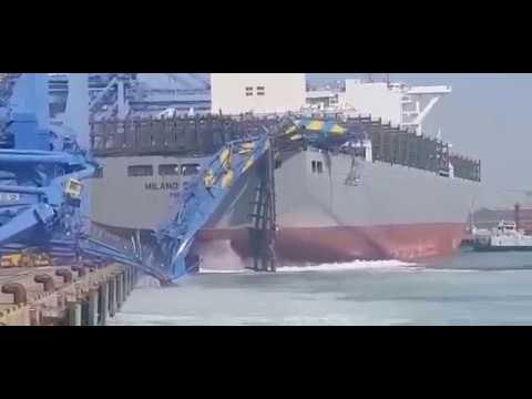 Sự cố tàu container đâm sập giàn cẩu ở Cảng mới Busan