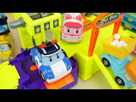 Thumbnail: Robocar Poli car and truck toys car shop construction with Tayo bus