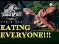 Jurassic World Evolutioon - 3X CERATOSAURUS ATTACKING EVERYONE - JEEP ACTION! JEW:E GAMEPLAY