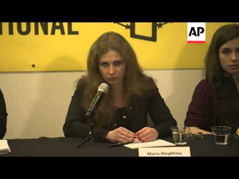 Freed members of Pussy Riot deliver press conference in New York