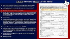 Texas Title Transfer SELLER Instructions