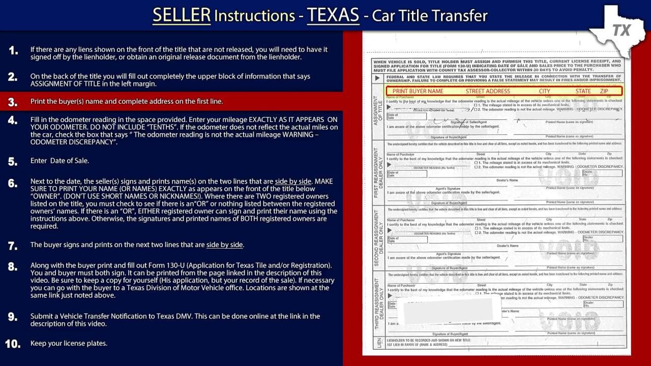 Texas Vehicle Transfer Notification >> Texas Title Transfer Seller Instructions