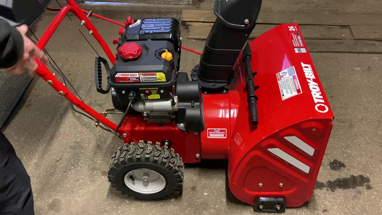 How to start a Troy Bilt Storm 2410 snow thrower