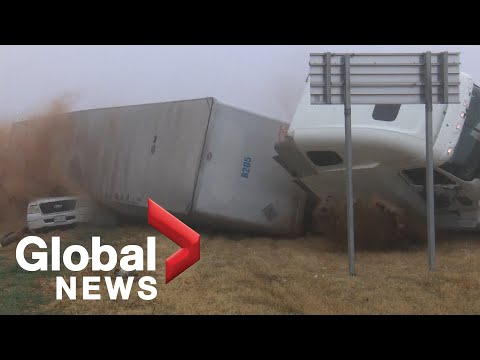 News crew captures terrifying tractor-trailer rollover while covering crash scene