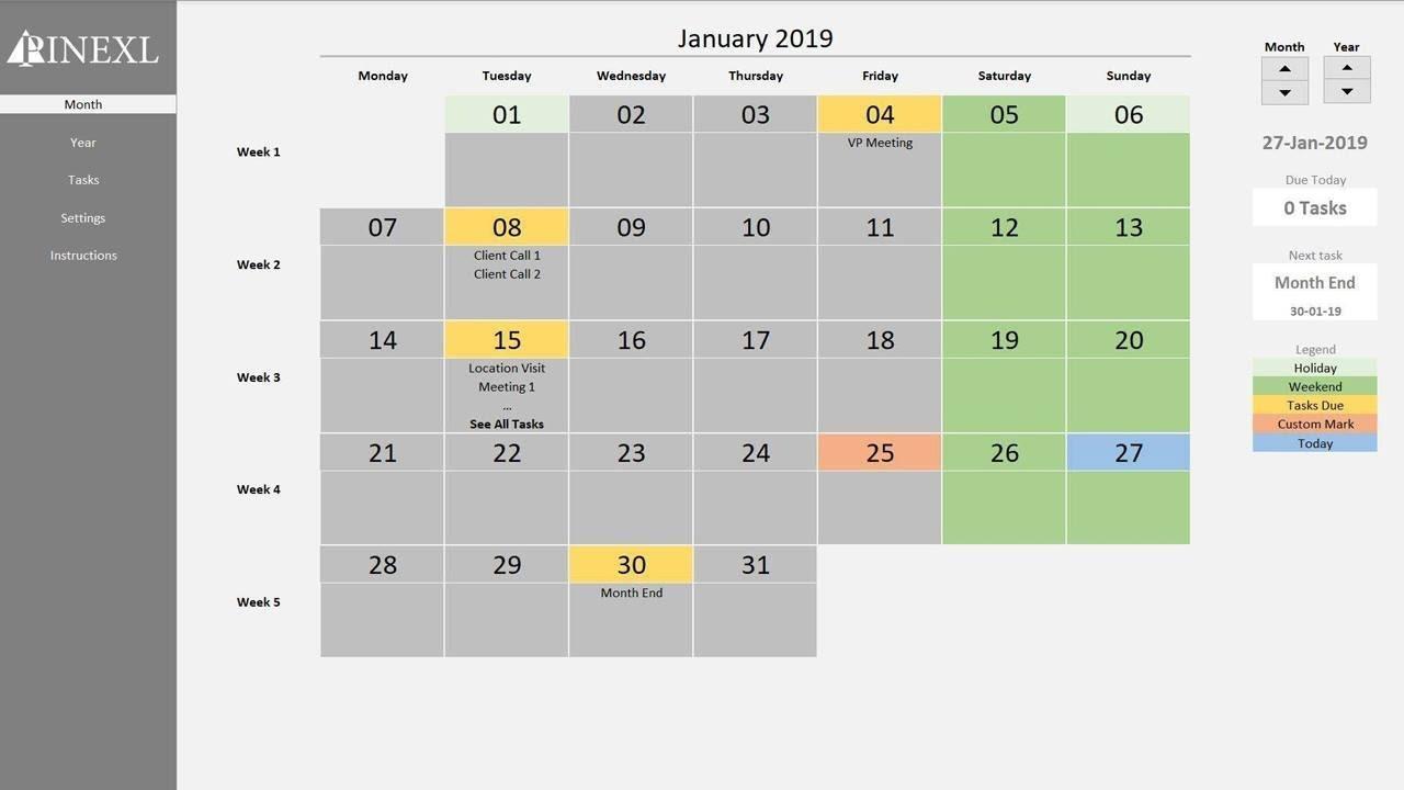 excel perpetual calendar task manager template youtube. Black Bedroom Furniture Sets. Home Design Ideas
