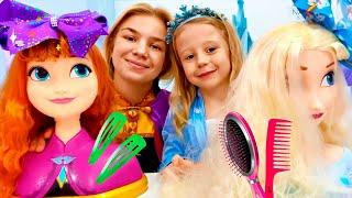 ناستيا وفيديوهات مضحكة عن صالون تجميل الأميرات والألعاب للفتيات