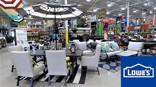 LOWES OUTDOOR PATIO FURNITURE HOME DECOR SPRING SUMMER SHOP WITH ME SHOPPING STORE WALK THROUGH 4K