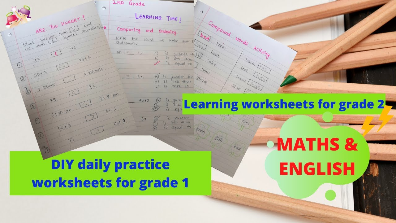 DAY1! DIY daily practice worksheets for GRADE 1 (Maths and English)   Learning worksheets for GRADE 2 - YouTube [ 720 x 1280 Pixel ]